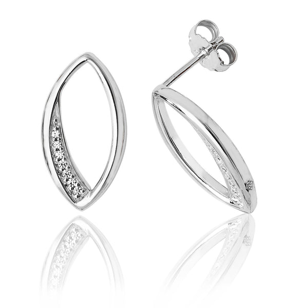 Elegant 925 Sterling Silver Ladies Stud Earrings with Cubic Zirconia/CZ Picture 1
