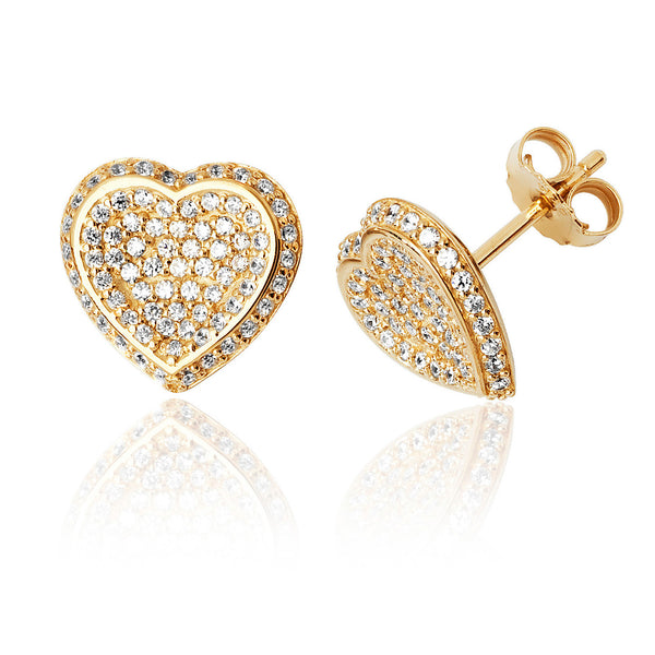 Pretty 925 Sterling Silver Ladies Heart Stud Earrings with Cubic Zirconia/CZ Picture 1
