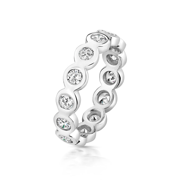 Stunning 925 Sterling Silver Ladies Eternity Ring with Cubic Zirconia/CZ Picture 1