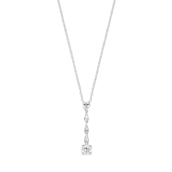 Elegant 925 Sterling Silver Ladies Pendant + Chain with Cubic Zirconia/CZ, - 0.1cm Picture 1