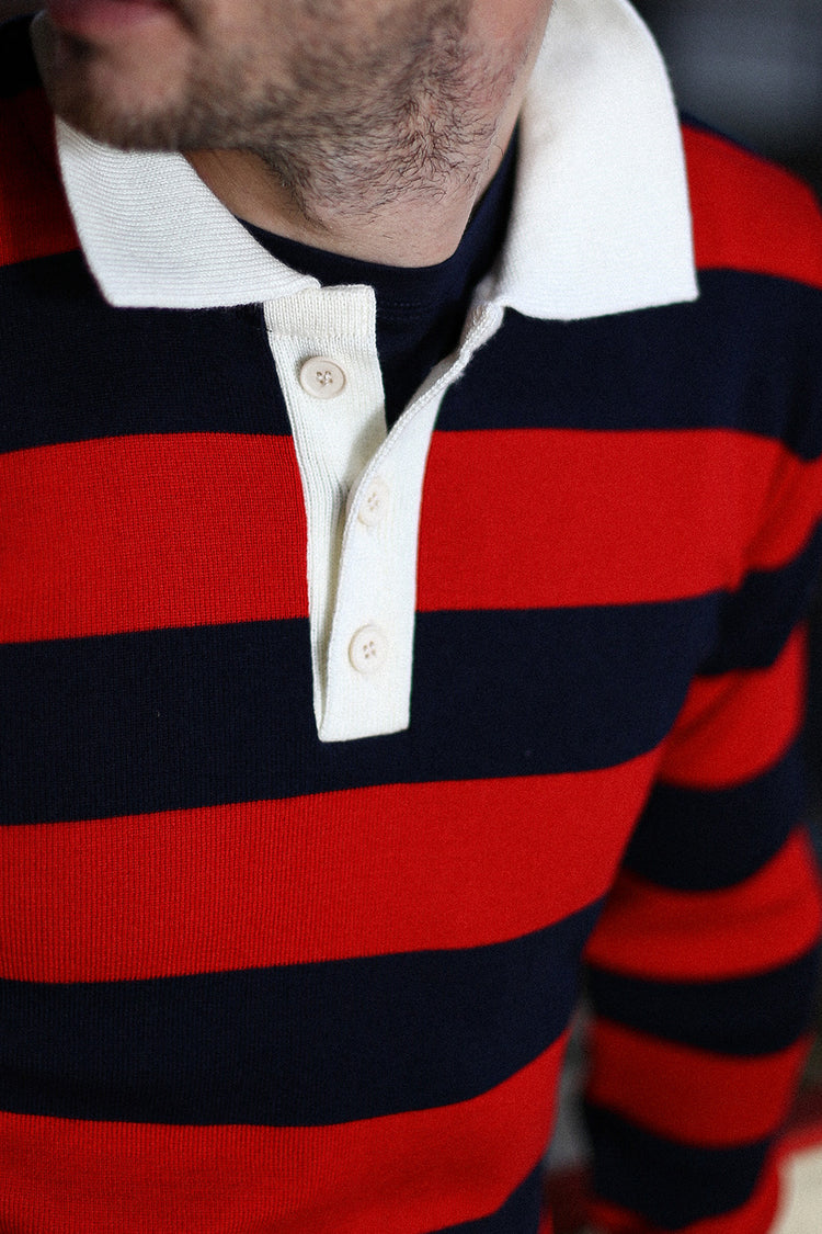 Polo De Rugby Made In France Bleu Marine Et Rouge