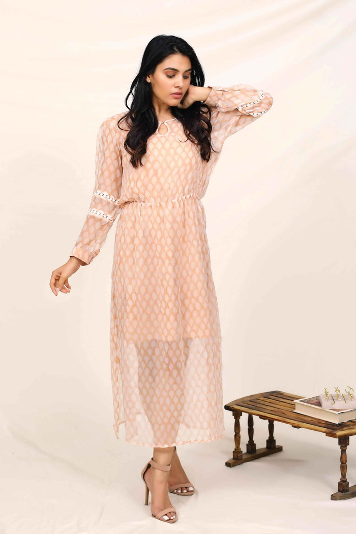 PEACH CHIFFON  DRESS