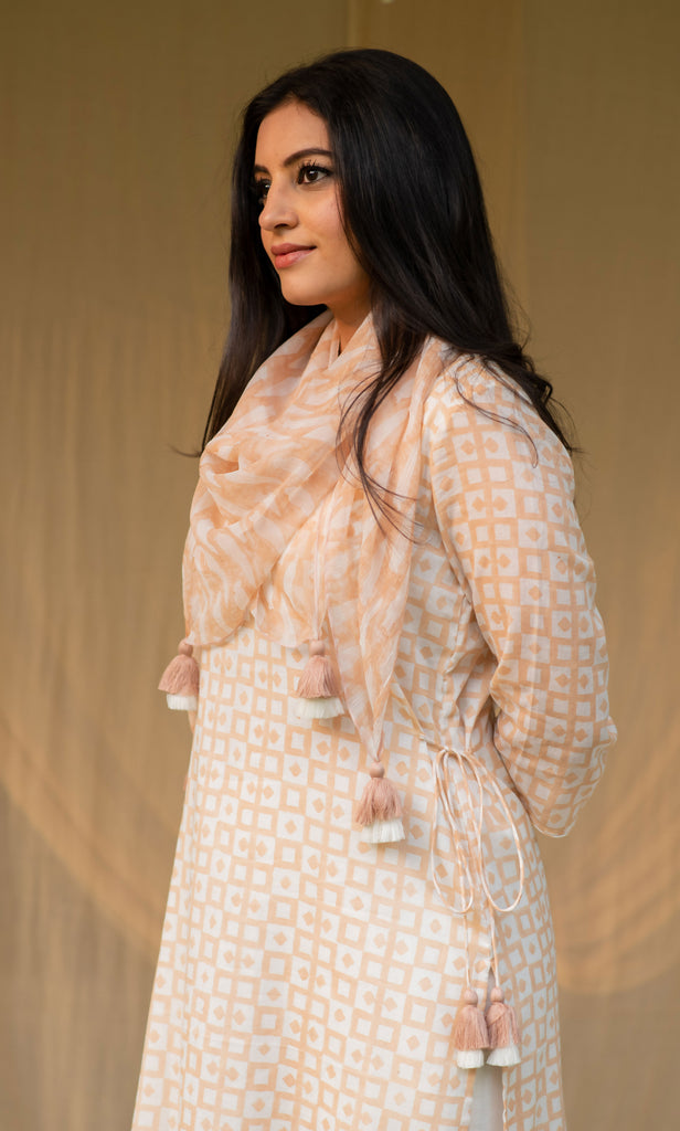 Peach Cotton Tunic Set