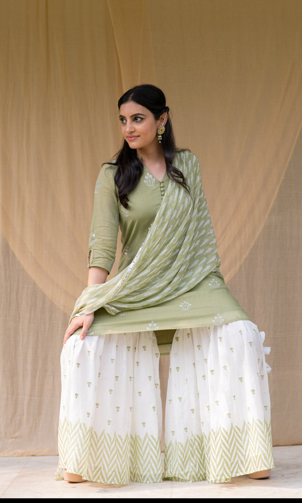 Green Embroidered Sharara Set