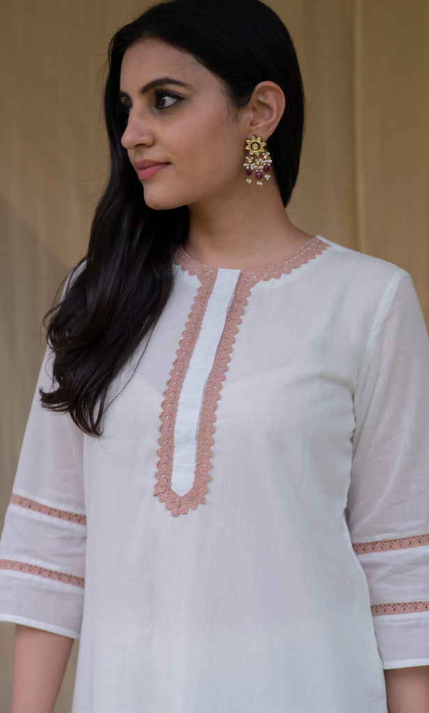 Innocent White Cotton Tunic Set