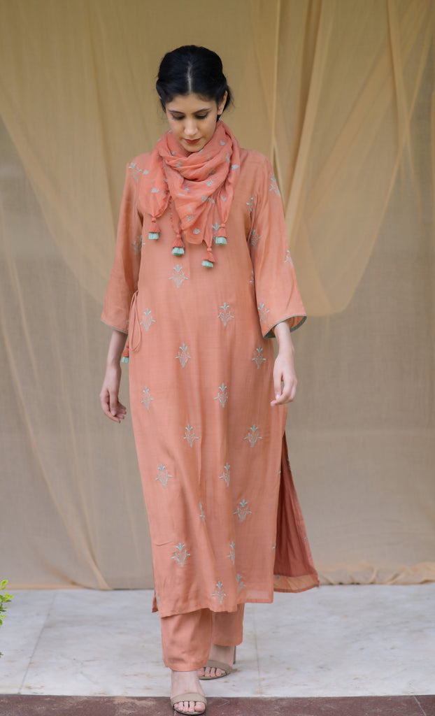 RUST EMBROIDERED TUNIC SET