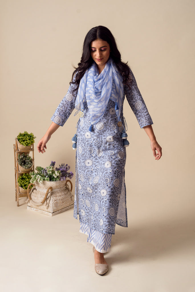 Powder Blue Cotton Tunic Set