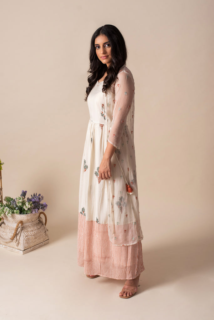 Moroccan Maxi with Chiffon summer jacket (Rust Stripe)