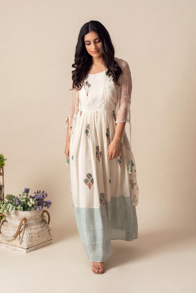 Moroccan Maxi with Chiffon Summer Jacket (Green Stripe)