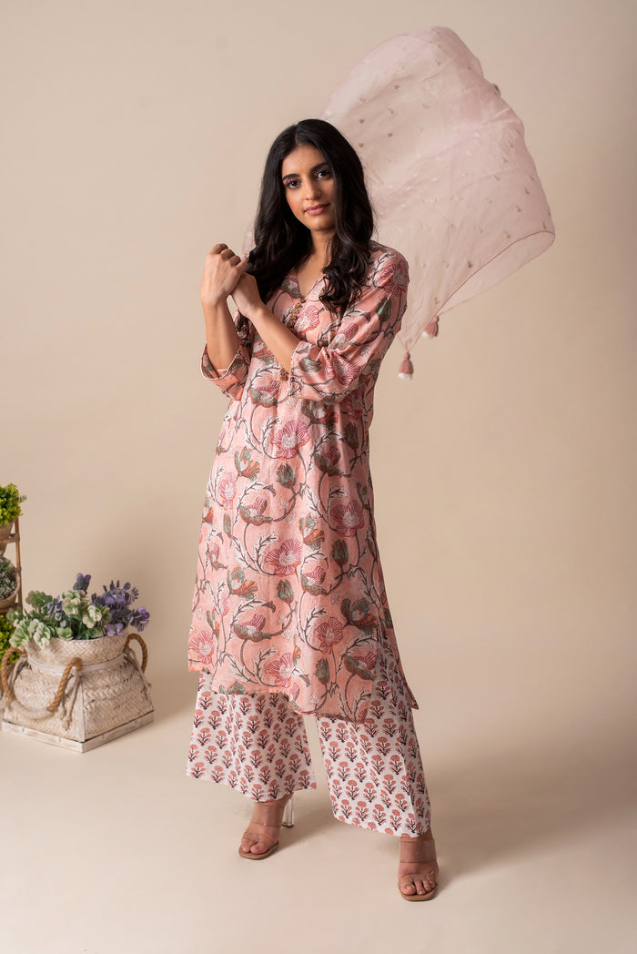 Pink Floral Cotton Tunic Set