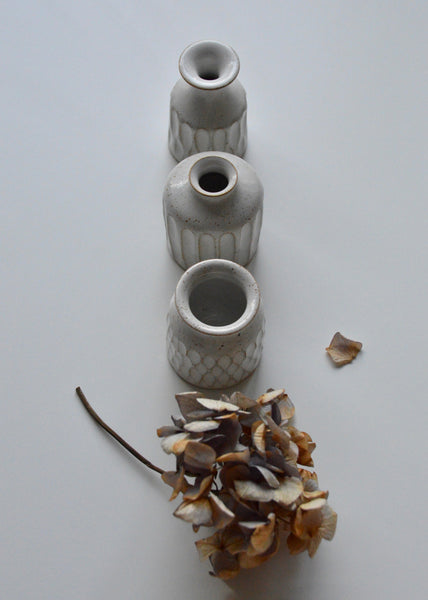 Trio of Miniature White Stoneware Bud Vases