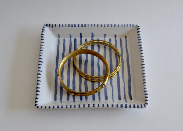 Blue and White square dish I