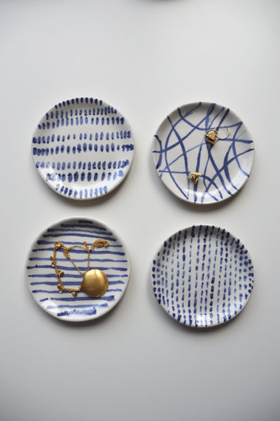 Blue and White Ring Dish ~ top left