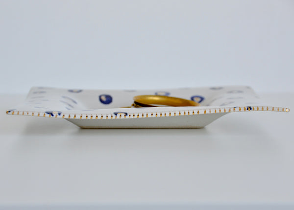 Gold, Blue and White platter I