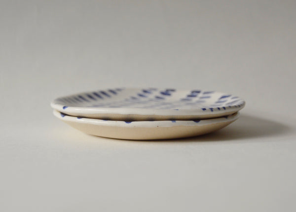 Pair of blue and white mini treasure dishes