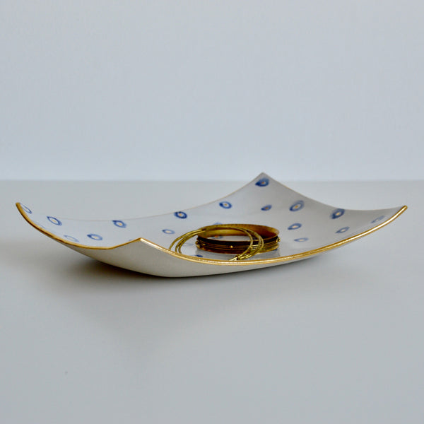 Gold, Blue and White platter II