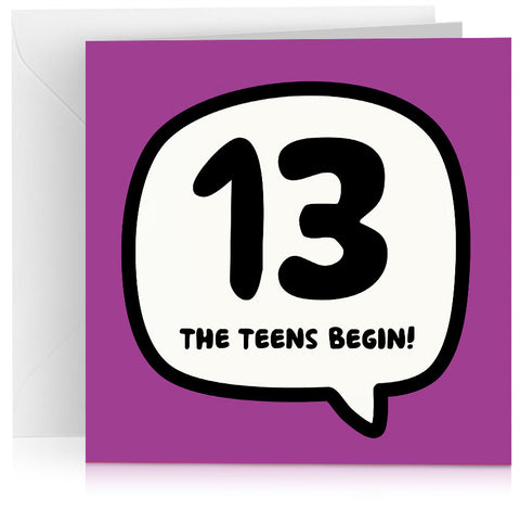 age thirteen 13 birthday card