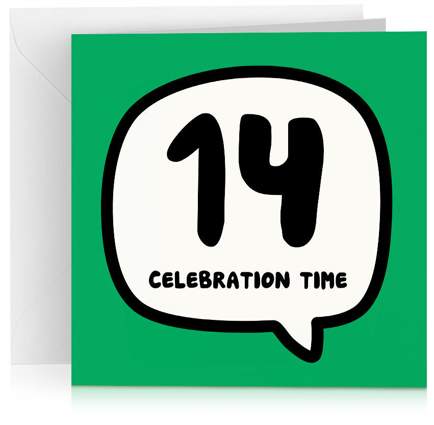 Green age 14 (fourteen) birthday card
