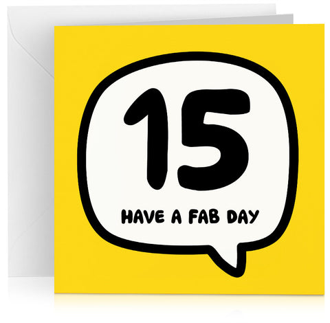 Yellow age 15 (fifteen) birthday card