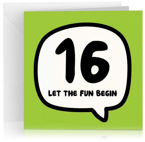 Green age 16 birthday card in speech bubble