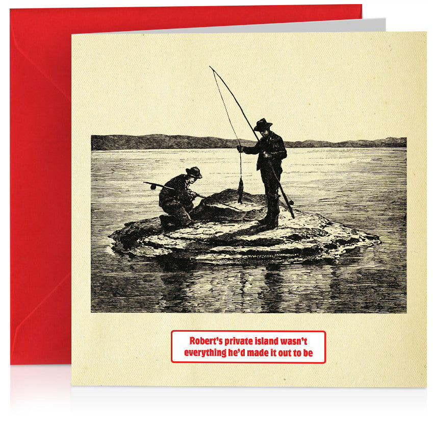 Private island funny birthday card with illustration of men fishing