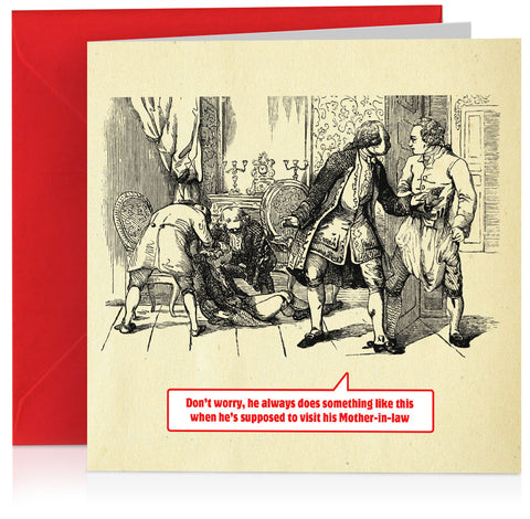 'Mother-in-law' humorous card with vintage book illustration