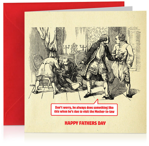 Humorous Fathers Day card with book illustration and funny Mother-in-law caption