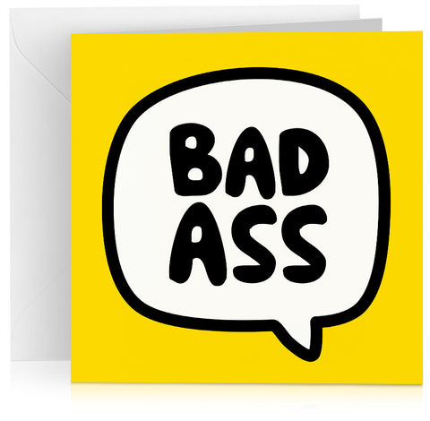 Yellow Bad Ass cheeky birthday card