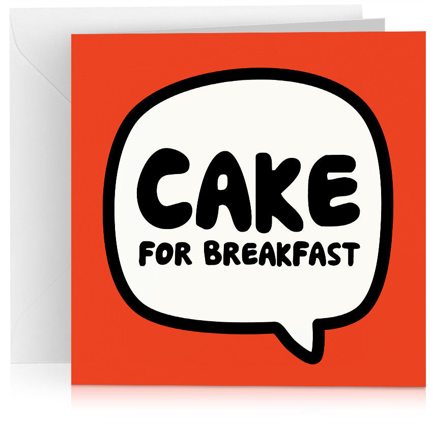 Red cake for breakfast birthday card