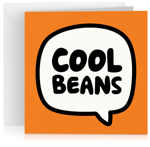 Orange 'Cool beans' card for birthday, well done or congratulations