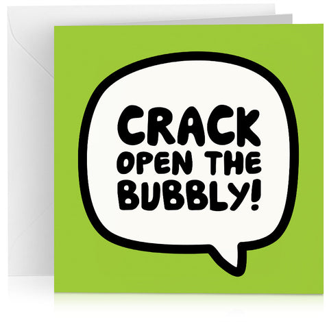 Green 'crack open the bubbly' congratulations or birthday card