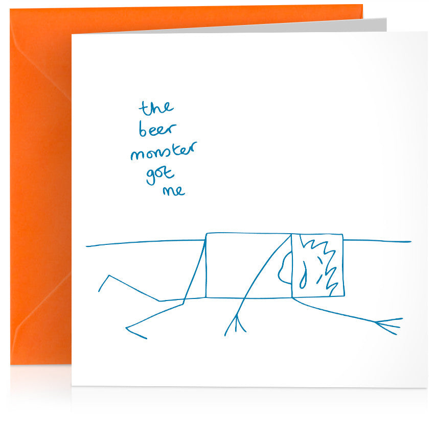 'Beer monster' humorous birthday card of drunk stick-figure