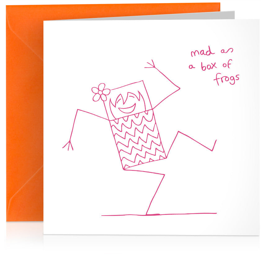 'Mad as a box of frogs' humorous birthday card