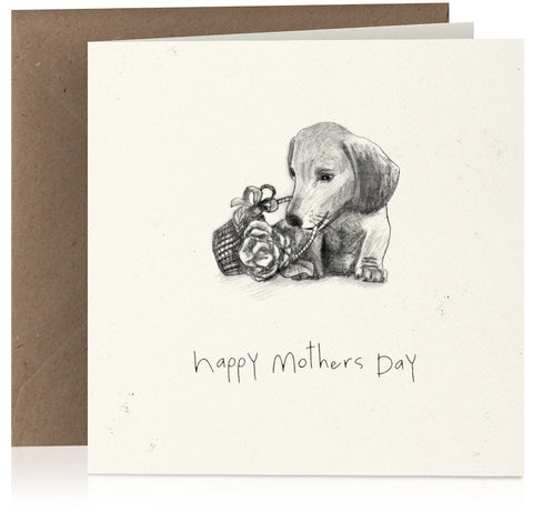 Mothers Day dog with flowers x 6