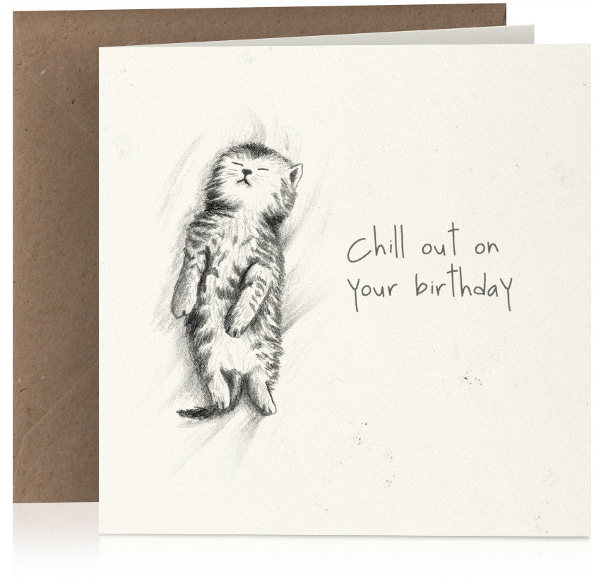 Cute pencil illustrated birthday card with sleeping kitten