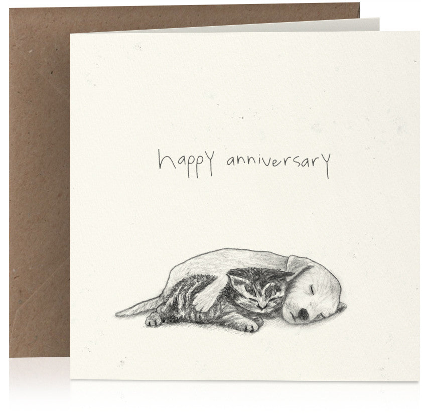 Cute pencil illustrated anniversary card with puppy and kitten cuddling