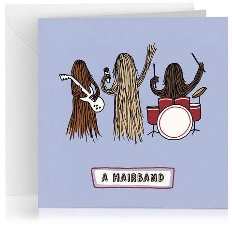'Hair band' humorous birthday card with visual pun