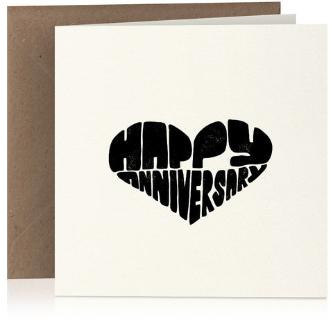 'Heart' screen-print style happy anniversary card