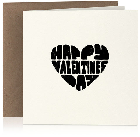 Happy Valentines Day (heart) card in screen-print style