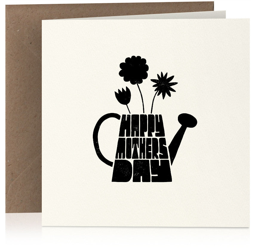 Watering can Mothers Day card in screen-print style