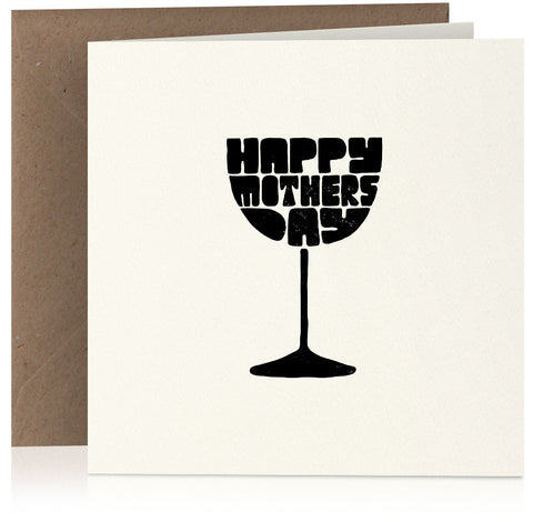Wine glass Mothers Day card in screen-print style