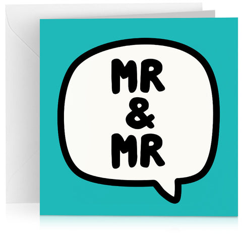 Turquoise 'Mr and Mr' gay wedding card