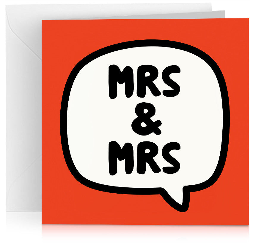 Red 'Mrs and Mrs' gay wedding card