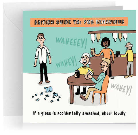 'Cheering in pub' humorous birthday card
