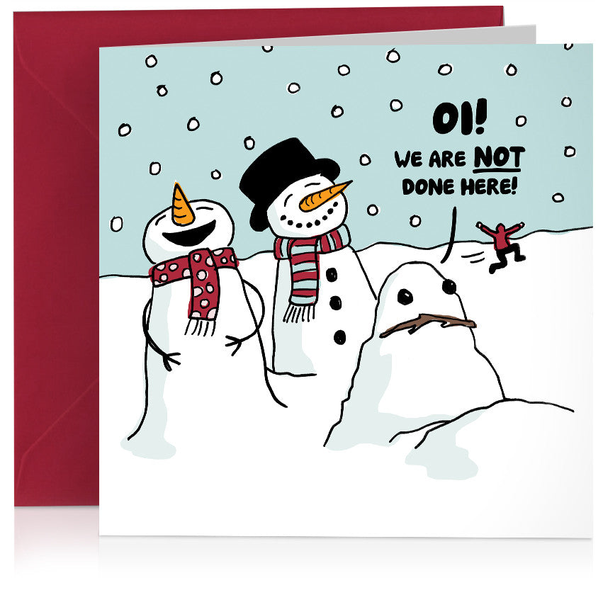 Angry snowman humorous illustrated Christmas card