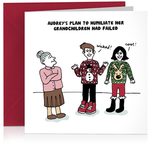 Humorous Christmas jumpers card