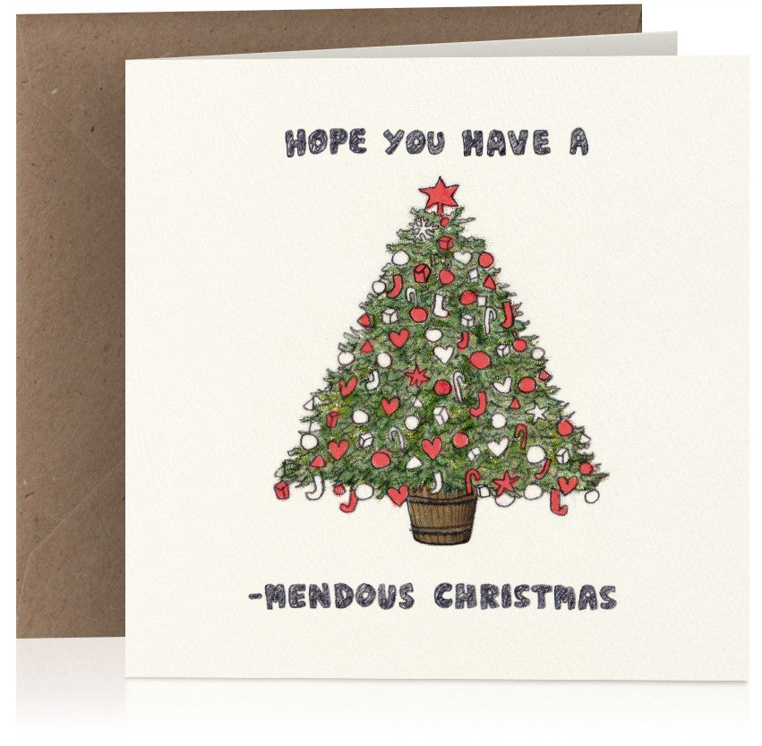 Tree-mendous illustrated Christmas card featuring a visual pun play on words