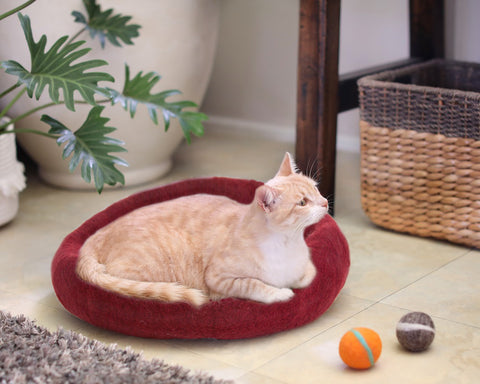 Cozy Felted Wool Cat Cave- Cranberry and Cream