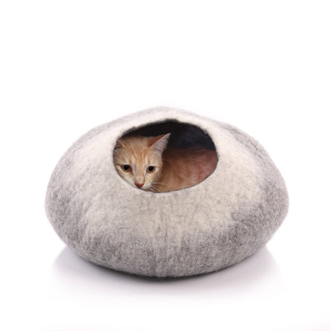Kittycentric Cozy Cat Cave - Dark Gray and Cream