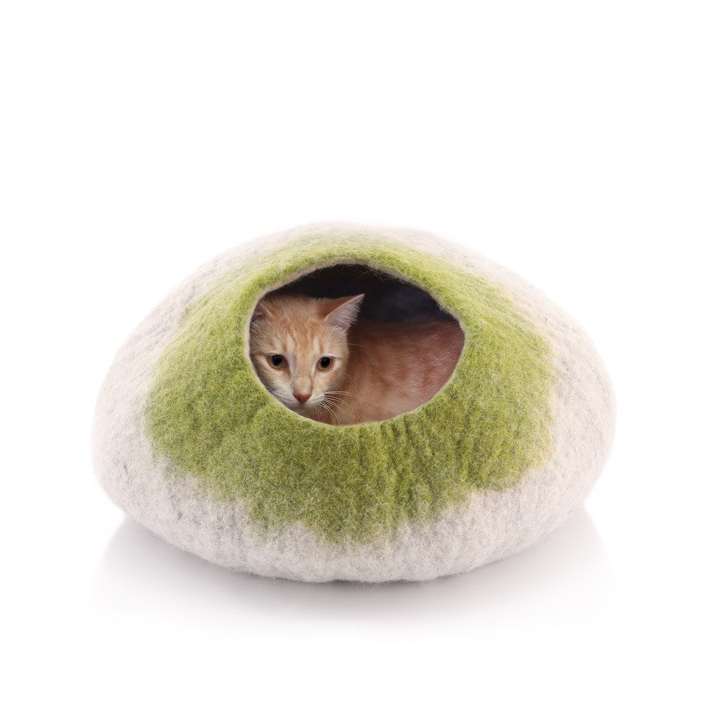 Kittycentric Cozy Cat Cave (Light Tan/Green)